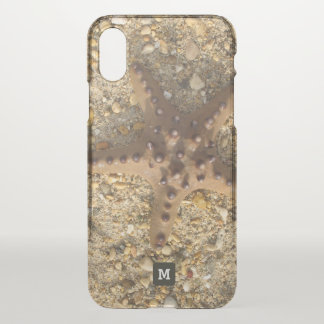 Monogram. Beige Starfish on the Sand. iPhone X Case