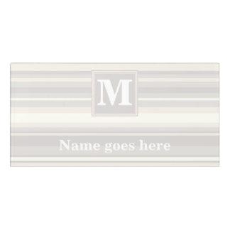 Monogram beige stripes door sign