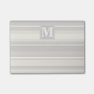 Monogram beige stripes post-it notes
