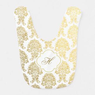 Monogram Bib in gold damask printed pattern