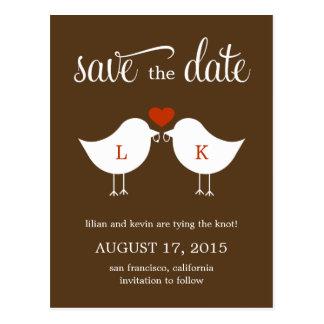 Monogram Birds Save The Date Card Postcard