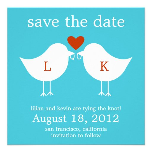 Monogram Birds Save The Date Card - Turquoise Invitations
