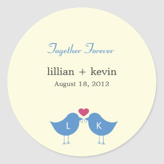 Monogram Birds Wedding Favor Sticker