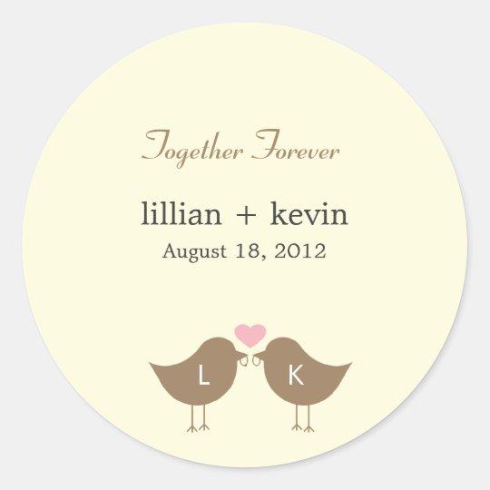 Monogram Birds Wedding Favour Sticker - Latte