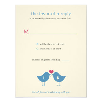Monogram Birds Wedding RSVP/Response Card