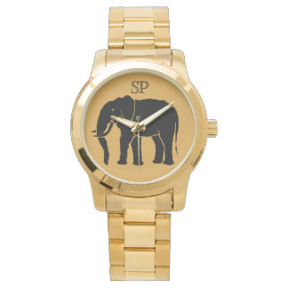 Monogram Black African Elephant on Gold Background Watch