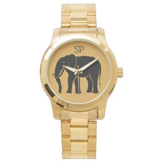 Monogram Black African Elephant on Gold Background Wrist Watch