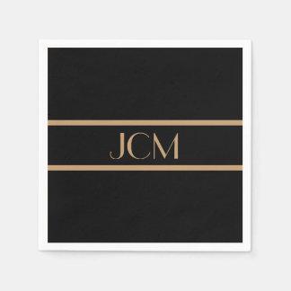 Monogram Black and Camel Brown Stripe Disposable Serviette