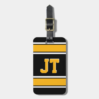 Monogram Black and Gold Sports Stripes Luggage Tag