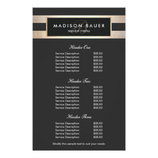 Monogram Black and Gold Stripes Price List Menu 14 Cm X 21.5 Cm Flyer