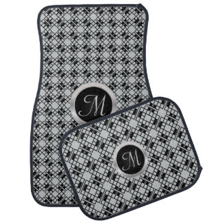 Monogram Black and Gray Abstract Car Mat