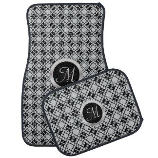 Monogram Black and Gray Abstract Floor Mat