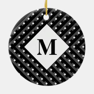 Monogram Black and Grey Angled lines Christmas Ornaments