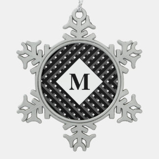 Monogram Black and Grey Angled lines Pewter Snowflake Decoration