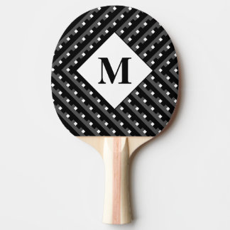 Monogram Black and Grey Angled lines Ping Pong Paddle