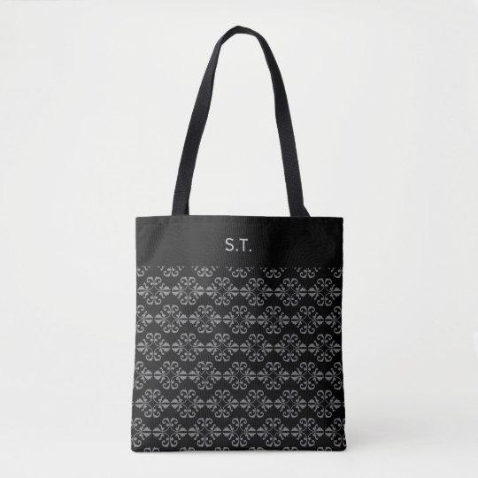 Monogram Black and grey damask Tote Bag