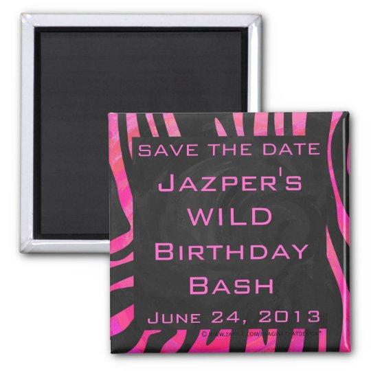 Monogram Black and Hot Pink Zebra Design Magnet
