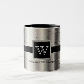 Monogram Black and Metallic Silver Two-Tone Coffee Mug