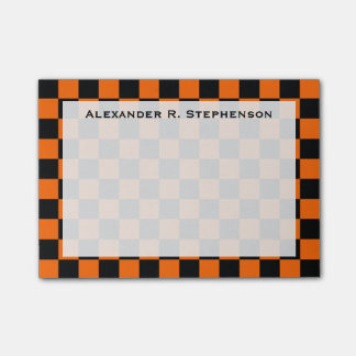 Monogram Black and Orange Checkerboard Post-it Notes