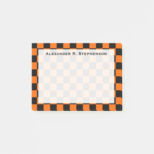 Monogram Black and Orange Chequerboard Post-it Notes