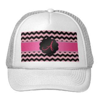 Monogram black and pink chevrons cap