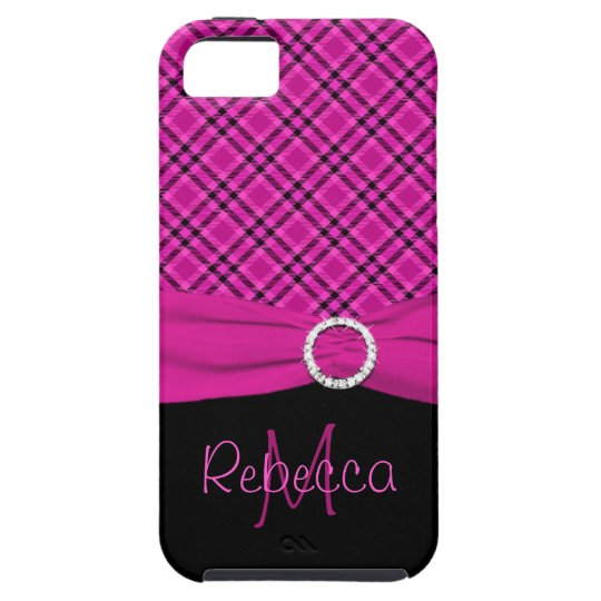 Monogram Black and Pink Plaid iPhone 5 Vibe Tough iPhone 5 Case