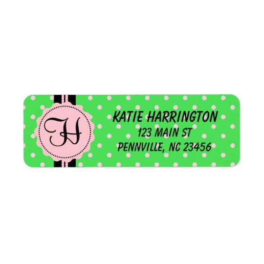 Monogram Black and Pink Return Address Label