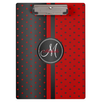 Monogram Black and Red Polka Dots Clipboards