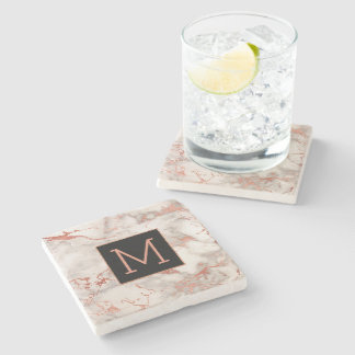 monogram black and rose gold marble stone coaster