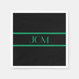 Monogram Black and Shamrock Green Stripe Disposable Napkins