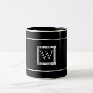 Monogram Black and Silver Two-Tone Coffee Mug