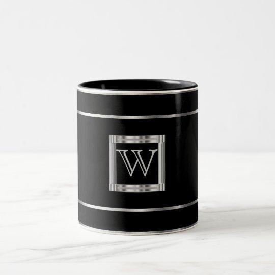 Monogram Black and Silver Two-Tone Coffee Mug
