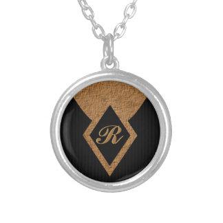 Monogram Black and Tan Elegant Round Necklace