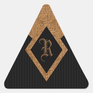 Monogram Black and Tan Elegant Triangle Stickers