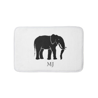 Monogram Black and White African Elephant Bath Mat