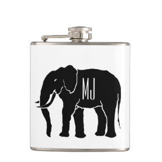 Monogram Black and White African Elephant Emblem Hip Flask