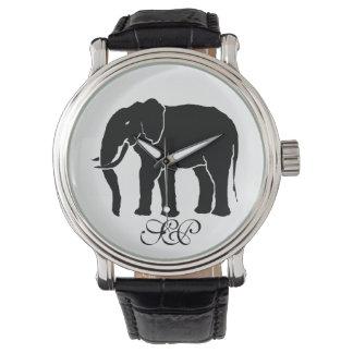 Monogram Black and White African Elephant Emblem Wristwatches