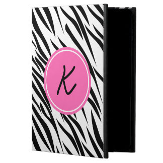 Monogram Black and White and Hot Pink Zebra Print