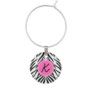 Monogram Black and White and Hot Pink Zebra Print Wine Glass Charm