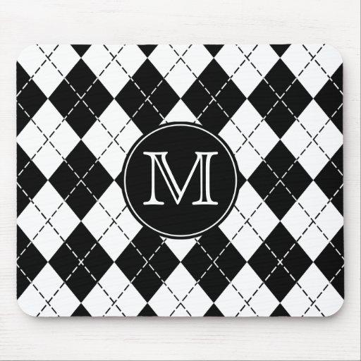 Monogram Black and White Argyle Mousepad