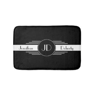 Monogram Black and White Art Deco Bath Mats