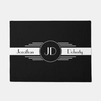 Monogram Black and White Art Deco Doormat