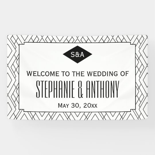 Monogram Black and White Art Deco Wedding Banner