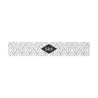 Monogram Black and White Art Deco Wedding Invitation Belly Band