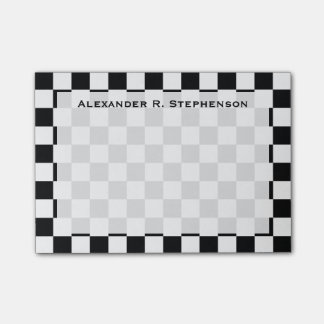 Monogram Black and White Checkerboard Post-it Notes