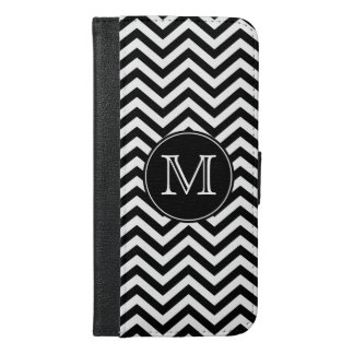 Monogram Black and White Chevron iPhone 6/6s Plus Wallet Case