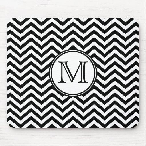 Monogram Black and White Chevron Mousepad