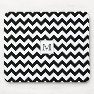 Monogram: Black And White Chevron Print Mousepad