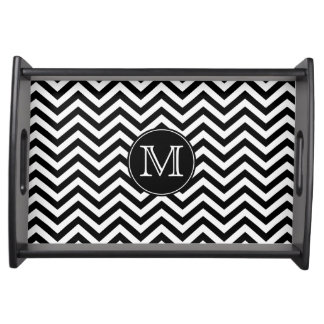 Monogram Black and White Chevron Serving Tray
