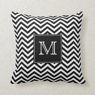 Monogram Black and White Chevron Throw Pillow